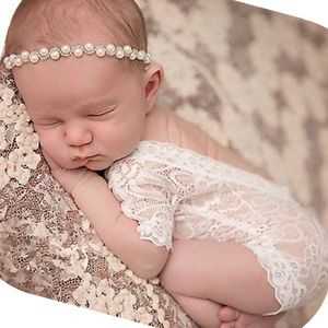 Newborn Baby white lace  photoshoot outfit